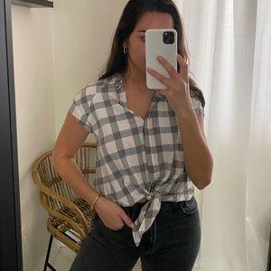 Checkered Zara button down crop top